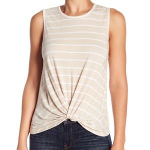 Abound Striped Tank Top With Twist Front Detail L